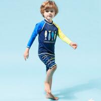 简爱中大男童游泳衣套装泳裤分体儿童泳装长袖速干沙滩冲浪服防晒 藏蓝色