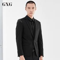 GXG西装男装 秋季男士青年潮流时尚修身黑色商务流行休闲单西潮