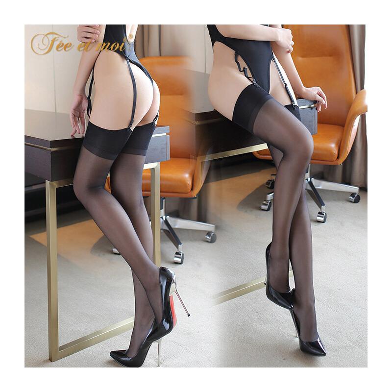 霏慕情趣内衣激情丝袜套装薄款中长筒袜吊袜带配件包芯丝性感丝袜 中长筒丝袜 性感诱惑 私密发货
