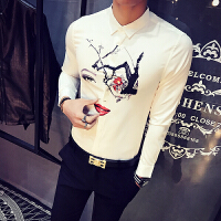 男士修身长袖衬衫春季新款人物印花韩版时尚衬衣发型师寸衫男
