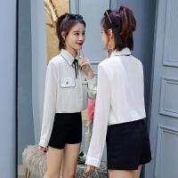 长袖雪纺衬衫女2018春季新款百搭通勤职业系带口袋时尚气质衬衣女