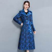 新款秋装修身显瘦女士风衣长款提花蕾丝大衣翻领女装外套腰带