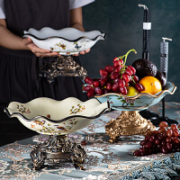 欧式客厅家用果盘新中式餐桌时尚现代创意大号水果盘茶几装饰摆件