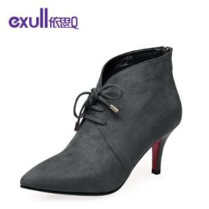依思q新款尖头细跟高跟短靴及踝靴性感系带女靴
