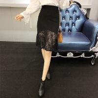 2018春季新款韩版修身蕾丝拼接包臀半身裙女显瘦百搭中裙潮