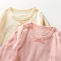 中大童女童宝宝长袖t恤睡衣打底上衣提花网眼