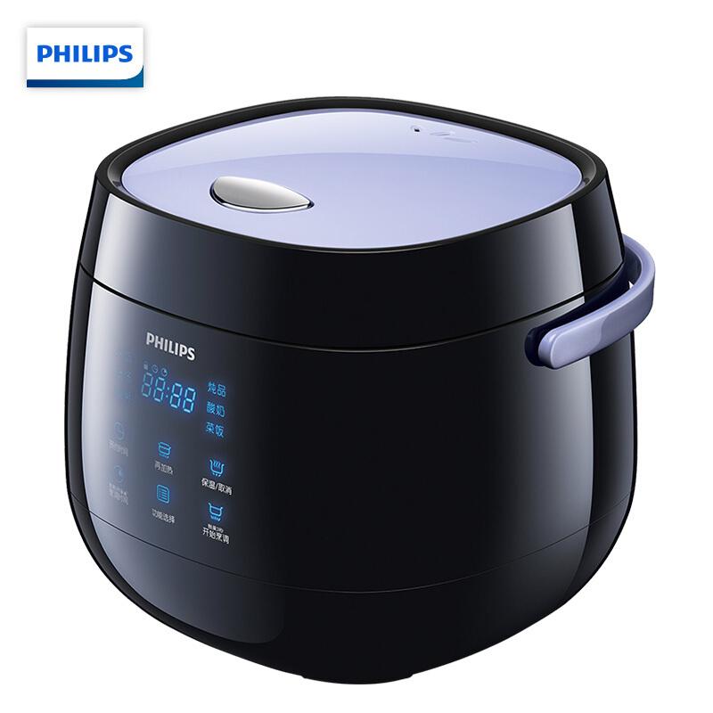飞利浦(PHILIPS)电饭煲2L迷你智能可预约液晶显示HD3060 2L迷你容量!白色独具品位!蓝光触屏!