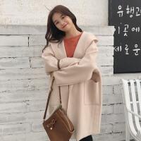 冬季新款韩版宽松显瘦纯色长袖开衫翻领连帽中长款呢子风衣外套女