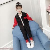 冬季女童牛仔套装秋装2018新款韩版中大儿童装女孩洋气时髦两件套潮衣秋冬新款