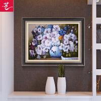 餐厅装饰画欧式花卉玄关富贵花开油画单幅挂画北欧客厅壁画 家和富贵 98*80 单幅价格