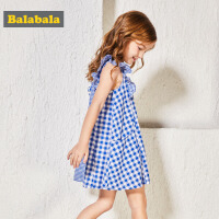 【每满200减100】巴拉巴拉儿童公主裙女童夏装2018新款格子连衣裙童装小童宝宝裙子