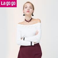 【6.29日限时秒杀价60】Lagogo/拉谷谷2017年秋季新款长袖一字领针织衫套头女甜美女装