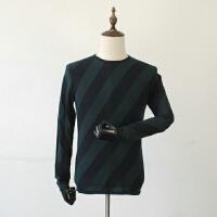秋装薄款羊毛衫针织衫圆领格子商务休闲男式毛衣针织衫时尚潮