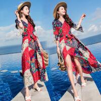 安妮纯连衣裙女夏中长款雪纺显瘦巴厘岛2018新款V领海边度假裙子A沙滩裙