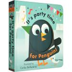 英文原版 Little Faces百变脸谱系列 It's Party Time for Penguin 精装变景书 儿