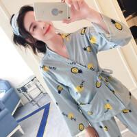 韩版可爱睡衣女士秋季长袖纯棉日式和服学生外穿家居服套装