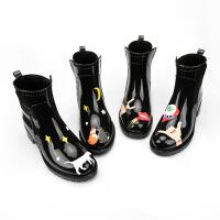 雨鞋女中筒马丁靴女休闲短筒防水鞋都市雨靴防滑韩版时尚雨鞋