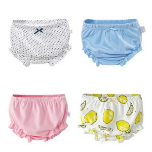 儿童内裤 女宝宝小女孩婴儿内裤女1-3岁棉质儿童面包裤卡通可爱花边短裤