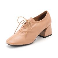 星期六(ST&SAT)秋季羊皮革系带粗跟时尚深口单鞋SS83112275