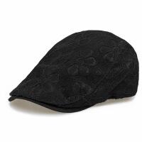 鸭舌帽女士美女个性蕾丝花朵帽韩版时尚逛街潮流女款贝雷帽休闲帽 黑色(主图款) 4559 可调节