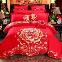 婚庆龙凤四件套大红全棉被套结婚床上用品喜庆纯棉六件套床品刺绣 2.0m(6.6英尺)床 床盖十件套送全套枕芯