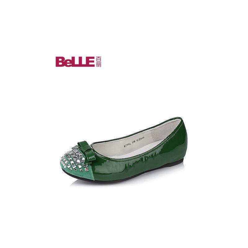 Belle/百丽秋专柜同款闪钻舒适漆皮牛皮女单鞋BJT04CQ6