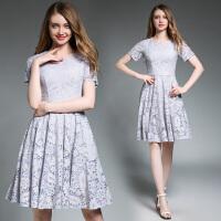 时尚连衣裙新款蕾丝连衣裙复古气质中长款欧美显瘦A字裙