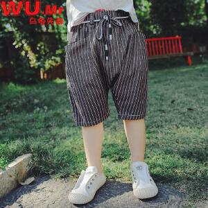 乌龟先森 儿童休闲裤 男童条纹大码短裤棉质中童裤百搭夏季新款韩版童装裤子