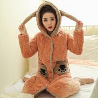 冬季睡袍女冬珊瑚绒长款加厚加长款夹棉浴袍法兰绒睡衣秋冬可爱