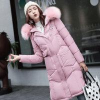 女2018韩版冬装外套女中长款加厚棉袄工装大毛领羽绒棉衣