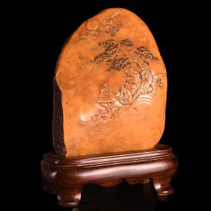 《858g闲情雅聚山水博意摆件》天然老挝石全手工博意精雕