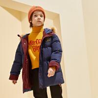 【2件3折:299】巴拉巴拉旗下巴帝巴帝19年冬中大童时尚休闲儿童羽绒服男童连帽大毛领