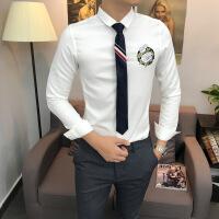 刺绣长袖衬衫男士修身西装打底衬衣发型师