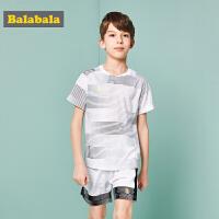 巴拉巴拉 童装男童套装中大童儿童两件套夏装2018新款运动T恤裤子
