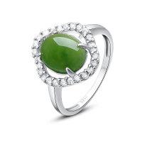 梦克拉 S925银镶和田玉戒指 浪漫佳人 女款戒指