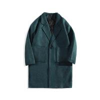 日系港风复古潮男士韩版青少年加棉加厚中长款毛呢大衣男风衣外套