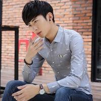 新款2018男士长袖男士个性长袖衬衫春秋季男装长袖衬衫韩版修潮流