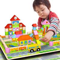 儿童玩具幼儿园积木木制质早教启蒙桶装大块积木儿童玩具