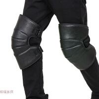 护膝男女 摩托车护膝冬季 电动车骑行防风防寒保暖护腿 绑腿PU皮革护膝