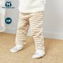 【限时2件3折价:30】迷你巴拉巴拉男女宝宝护肚裤婴儿夹棉裤2019春新款条纹裤子可开档