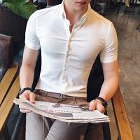 白色衬衫男士职业短袖衬衣青少年修身休闲色小领潮男装寸衣