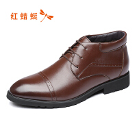 红蜻蜓正装皮鞋商务正装男鞋系带德比鞋尖头英伦男士皮鞋低帮鞋子