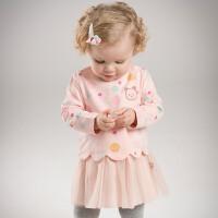 [3折价:107.1]戴维贝拉秋冬秋冬女童粉色彩点连衣裙DBZ7310