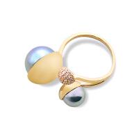 女日韩潮人个性冷淡风开口仿珍珠饰品首饰指环食指戒大气戒指