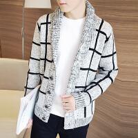 秋冬季韩版开衫针织衫外套格子潮流毛衣男修身型学生