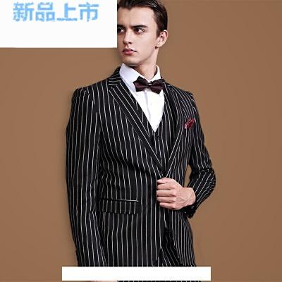 男士西服套装三件套修身英伦竖条纹休闲西装新郎结婚礼服