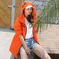 夏季防晒衣女中长款学生宽松大码沙滩防�鸱�衫防紫外线薄外套