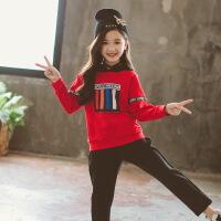 2019 女童套装秋装新款韩版儿童两件套中大童彩色织带休闲运动套装