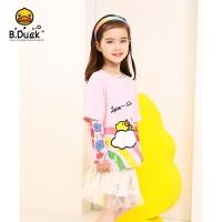 专柜同款 B.duck小黄鸭童装女童短袖t恤夏季2020女宝宝卡通圆领上衣潮 BF2101955