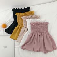 一字领无袖纯色时尚显瘦雪纺上衣气质小清新收腰娃娃衫吊带女